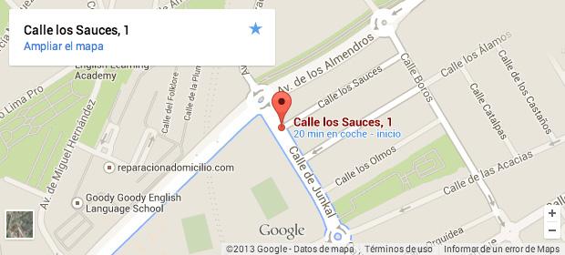 Imagen de un mapa de Google Maps